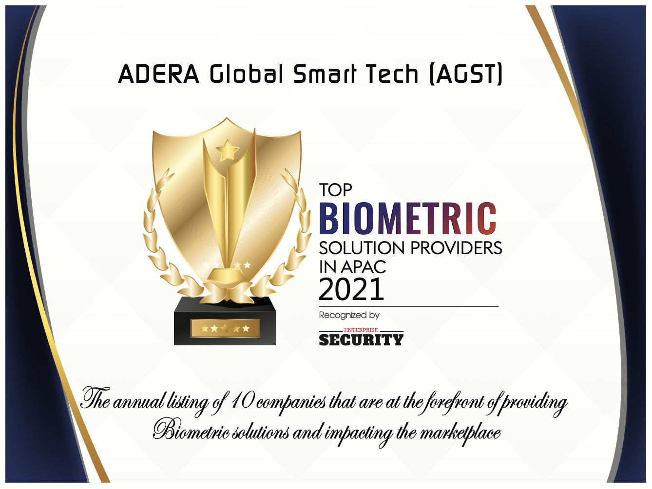 ADERA Global Smart Tech (AGST) awarded the Top 10 Biometric Solution Providers in the APAC region for 2021 by Enterprise Security Magazine.